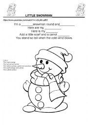 English Worksheet: little snowman