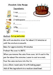english worksheets chocolate cake recipe. Black Bedroom Furniture Sets. Home Design Ideas