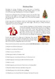 English Worksheet: Christmas Reading Comprehension