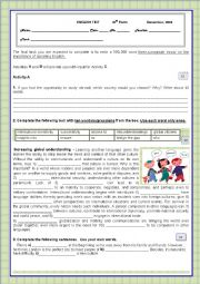 English Worksheet: Test- YOUTH MOBILITY/STUDYING ABROAD/LEARNING ENGLISH