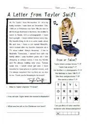 English Worksheet: Taylor Swift Biography Worksheet
