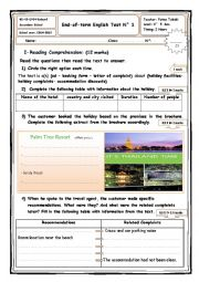 English Worksheet: end-of-term test N� 1 4th form