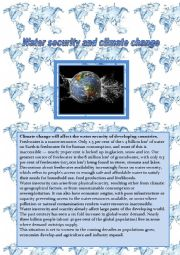 English worksheet: Written comprehension:Water security and climate change, how valuable water is.4 pages.
