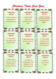 English worksheet: Christmas Trivia Game