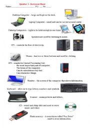 English Worksheet: Revise Parts of Computer