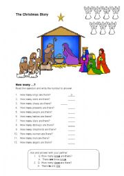 English Worksheet: The Christmas Story worksheet for beginners