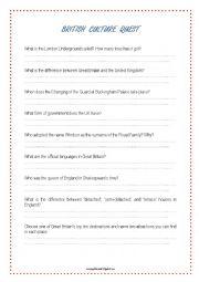 English Worksheet: British Culture Quest