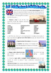 English Worksheet: BRITISH CITIES PROJECT