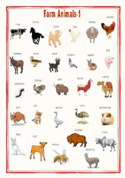English Worksheet: Farm animals Pictionary 1