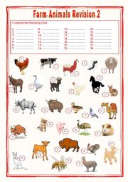 English Worksheet: Farm animals Revision 2
