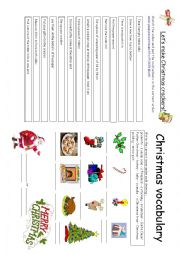 English Worksheet: Making Christmas crackers + christmas Vocabulary