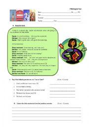 English Worksheet: English test 6th grade (Portugal)