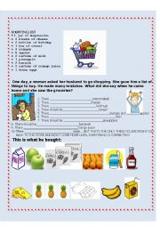 English Worksheet: The shopping list - nouns and quantifiers