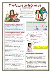 English Worksheet: The future perfect tense.