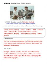 English Worksheet: Christmas Truce Advert  [1914 WWI]