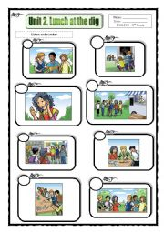 English Worksheet: Listening activity with audio: Lunch at the dig (see description)