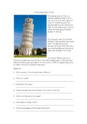 English Worksheet: The Leaning Tower of Pisa