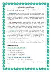 English Worksheet: pollution: causes and effects