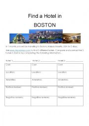 English Worksheet: Find a Hotel in Boston, Massachusetts