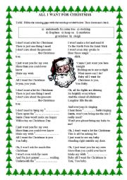 English Worksheet: ALL I WANT FOR CHRISTMAS - gap filling