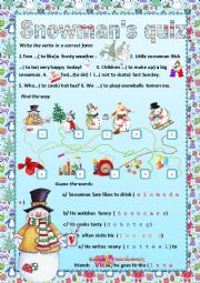 English Worksheet: Snowman�s quiz