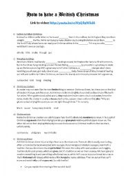 English Worksheet: How to have a British Christmas - transcript and cloze starting from a Youtube video