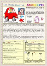 English Worksheet: AMAZING STORIES The Second Hand Car (Easy Reader + Voca and Ex) 3/…