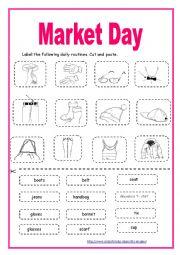 English Worksheet: Module 3 Section 4: Market Day (2) cut & paste