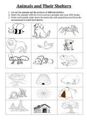 english worksheets animals and their shelters. Black Bedroom Furniture Sets. Home Design Ideas
