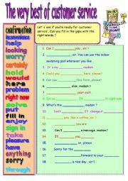 English Exercises: CUSTOMER SERVICE