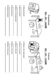 English Worksheet: Prepositions IN-ON-UNDER