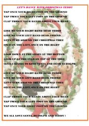 English Worksheet: Let�s dance with Christmas Teddy - an easy poem