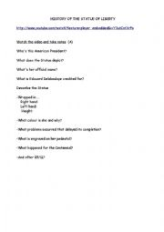 English Worksheet: Statue of liberty-a video