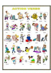 English Worksheet: Action verbs.