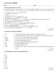 English Worksheet: PET VOCABULARY AND GRAMMAR TEST