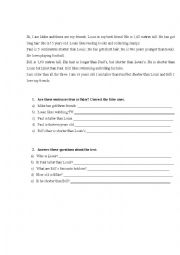 English Worksheet: Comparing people: Reading Comprehension