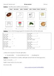 English Worksheet: Time for lunch ,a song activity during group session