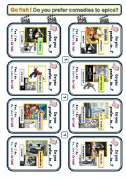 Movie Genres 3 Game cards for Go Fish(p1,2) * Target language*Do you prefer A to B?