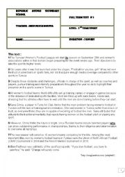 English Worksheet: END OF TERM TEST N 1 SECOND YEAR SPORT BRANCH