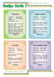 English Worksheet: Recipe Cards