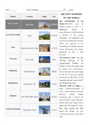 English Worksheet: The New 7 wonders OF The World