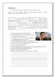 English Worksheet: THE TERMINAL- MOVIE SECTION