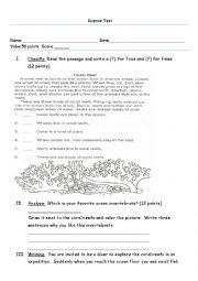 English Worksheet: Science Test Invertebrates