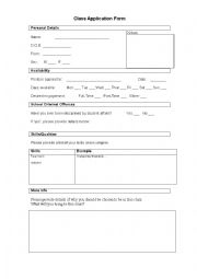 English Worksheet: Class Application Form