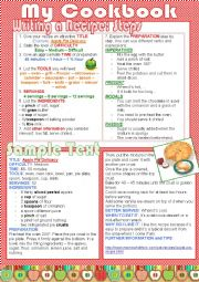 English Worksheet: My Cookbook (lesson plan)