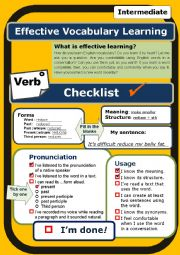English Worksheet: (Self-evaluation Checklist) Verb (intermediate) *Proofread*
