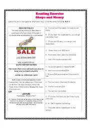 English worksheet: Reading Exercise - Shops and Money
