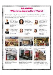 English Worksheet: Shopping in New York Reading Exercise