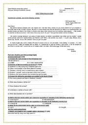 e_ mail test for 1st year secondary school students
