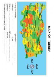 English Worksheet: MAP of TURKEY